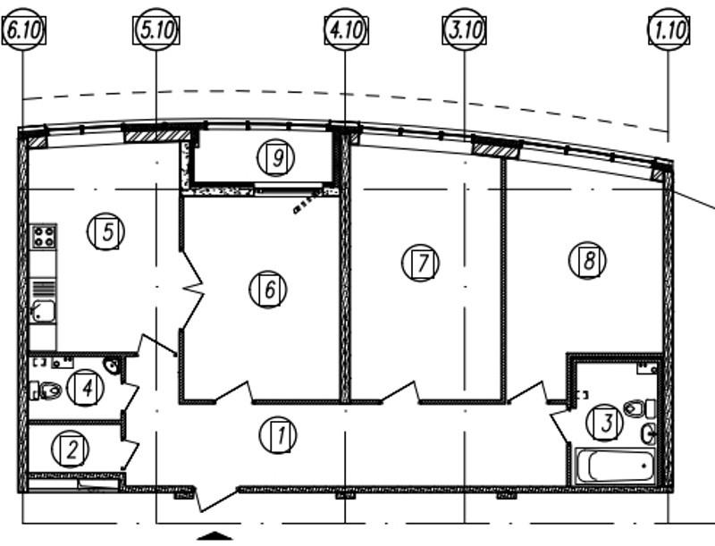 Планировка Трёхкомнатная квартира площадью 93.2 кв.м в ЖК «Самоцветы»