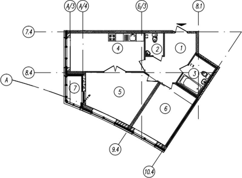 Планировка Двухкомнатная квартира площадью 66.2 кв.м в ЖК «Самоцветы»