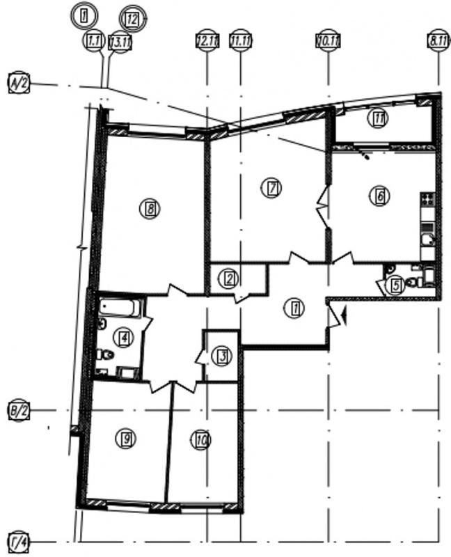 Планировка Четырёхкомнатная квартира площадью 138.2 кв.м в ЖК «Самоцветы»