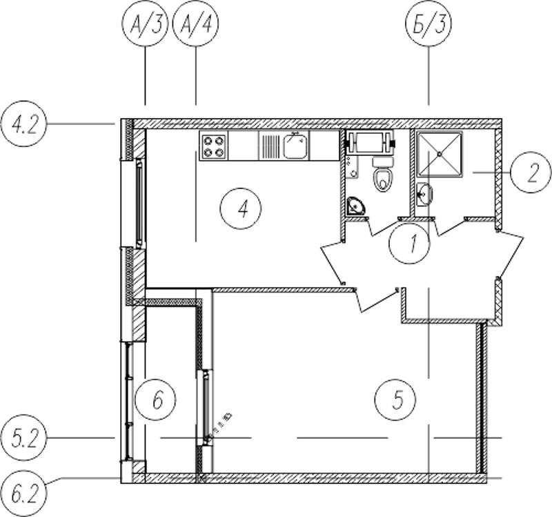 Планировка Однокомнатная квартира площадью 41.4 кв.м в ЖК «Самоцветы»