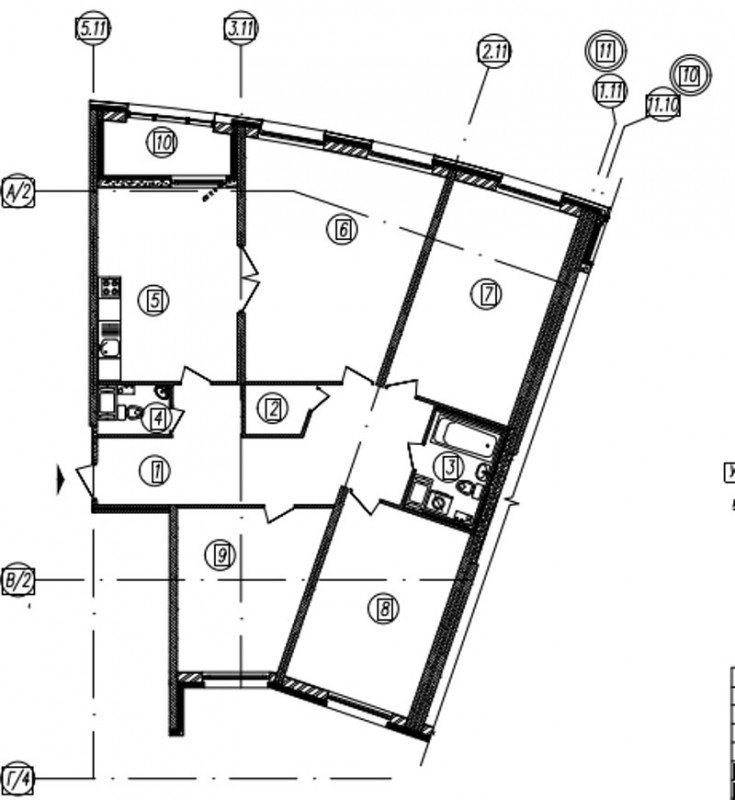 Планировка Четырёхкомнатная квартира площадью 133.8 кв.м в ЖК «Самоцветы»