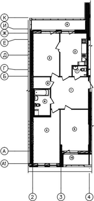 Планировка Трёхкомнатная квартира площадью 99.7 кв.м в ЖК «Самоцветы»