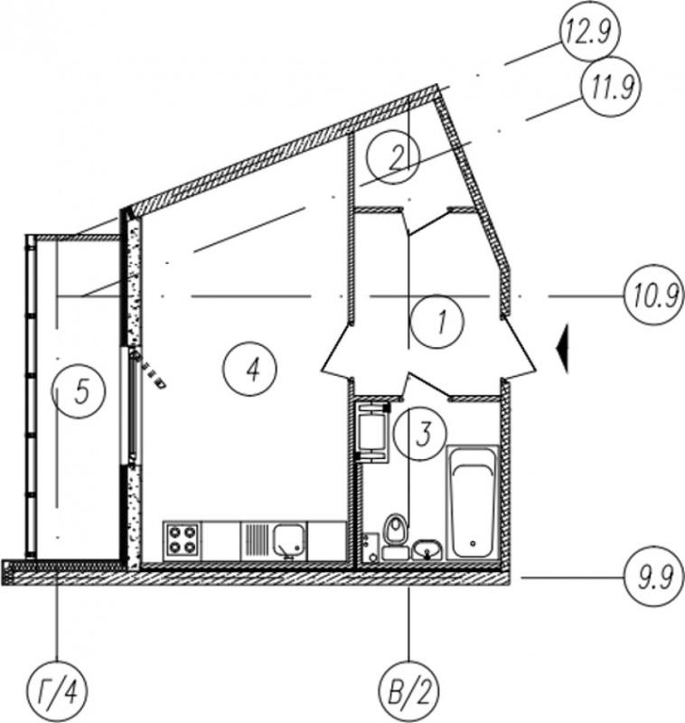 Планировка Студия площадью 34.5 кв.м в ЖК «Самоцветы»