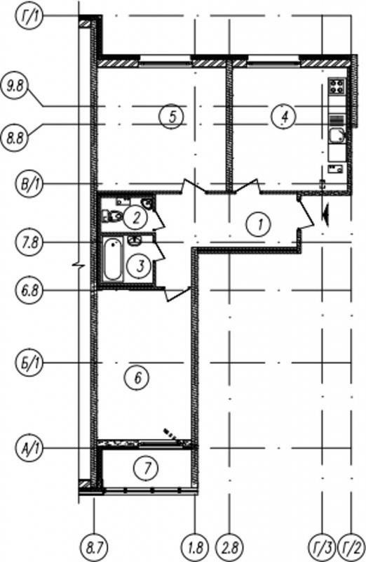 Планировка Двухкомнатная квартира площадью 65.6 кв.м в ЖК «Самоцветы»