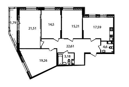 Планировка Четырёхкомнатная квартира площадью 120.2 кв.м в ЖК «Самоцветы»