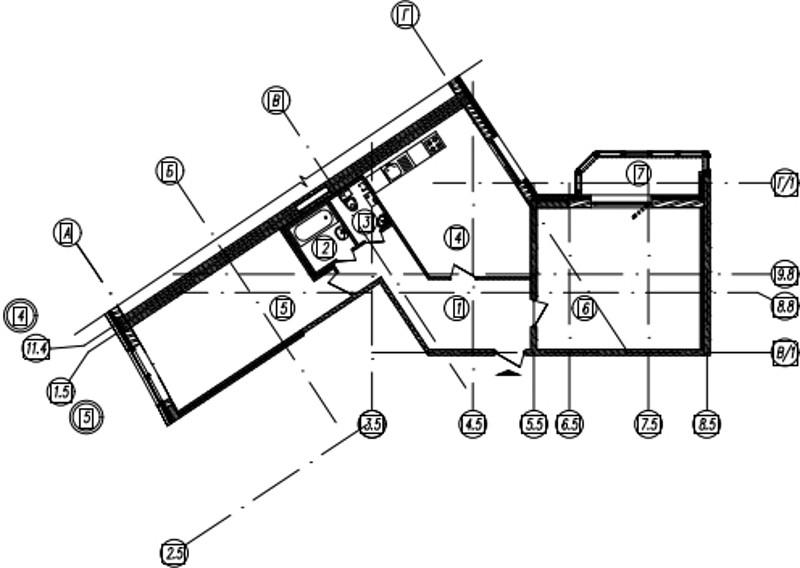 Планировка Двухкомнатная квартира площадью 84 кв.м в ЖК «Самоцветы»