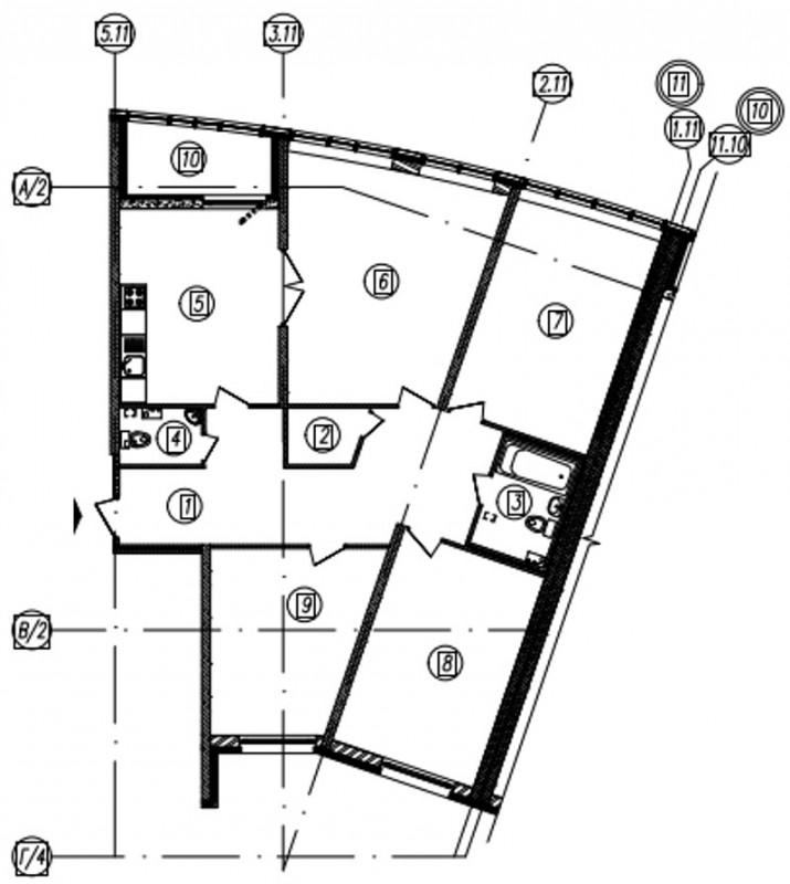Планировка Четырёхкомнатная квартира площадью 127.4 кв.м в ЖК «Самоцветы»