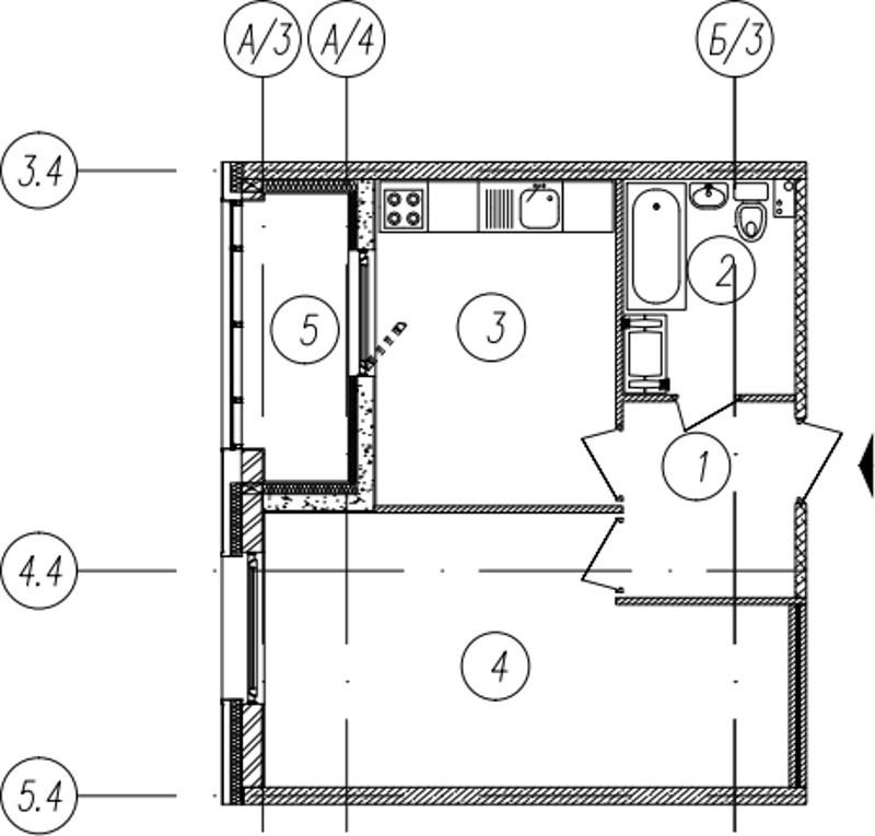 Планировка Однокомнатная квартира площадью 40.9 кв.м в ЖК «Самоцветы»