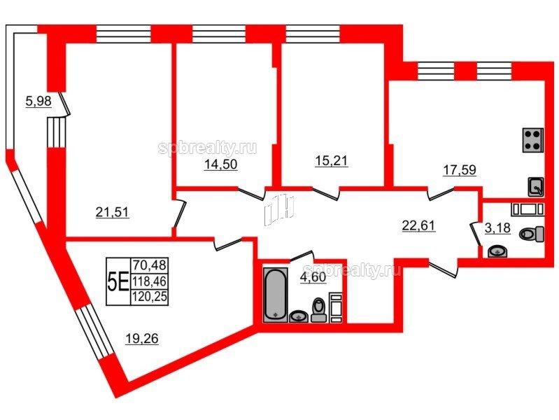 Планировка Четырёхкомнатная квартира площадью 120.4 кв.м в ЖК «Самоцветы»
