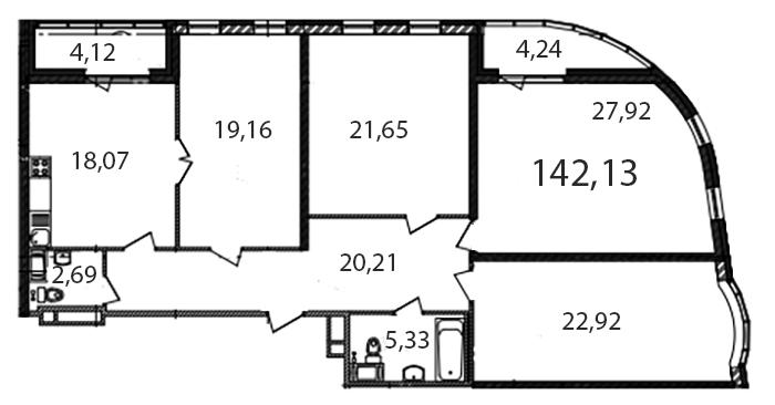 Планировка Четырёхкомнатная квартира площадью 142.5 кв.м в ЖК «Самоцветы»