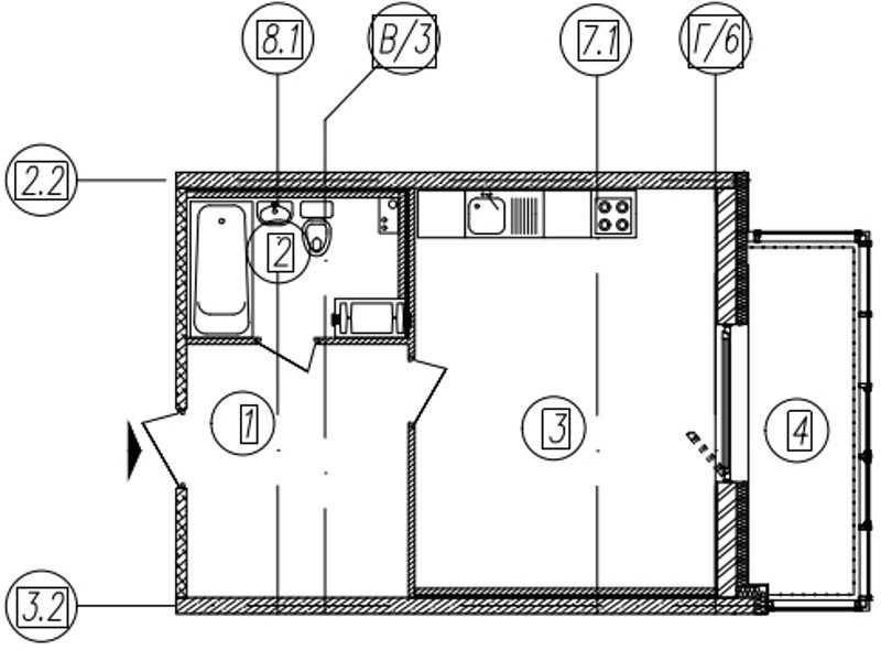 Планировка Студия площадью 34.8 кв.м в ЖК «Самоцветы»