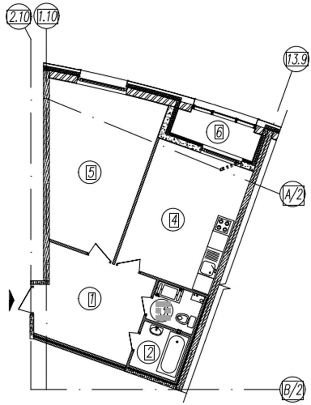Планировка Однокомнатная квартира площадью 54.6 кв.м в ЖК «Самоцветы»