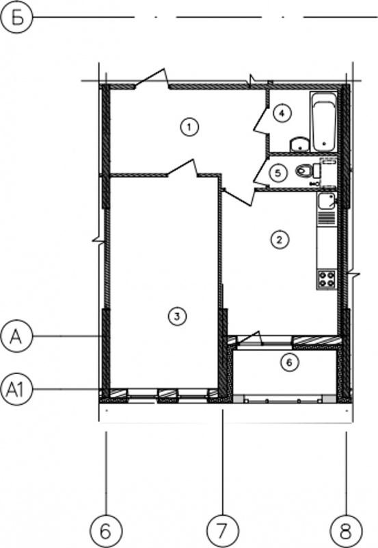Планировка Однокомнатная квартира площадью 50.2 кв.м в ЖК «Самоцветы»