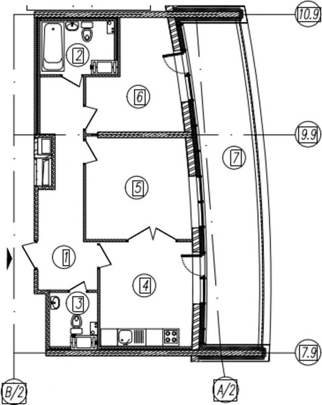 Планировка Двухкомнатная квартира площадью 61.3 кв.м в ЖК «Самоцветы»